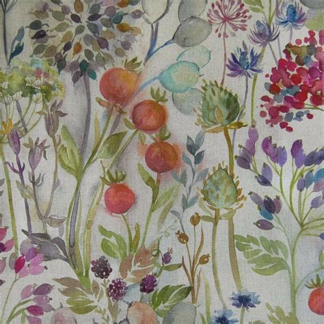 decorator drapery fabric voyage decoration lythmore hedgerow linen floral designer
