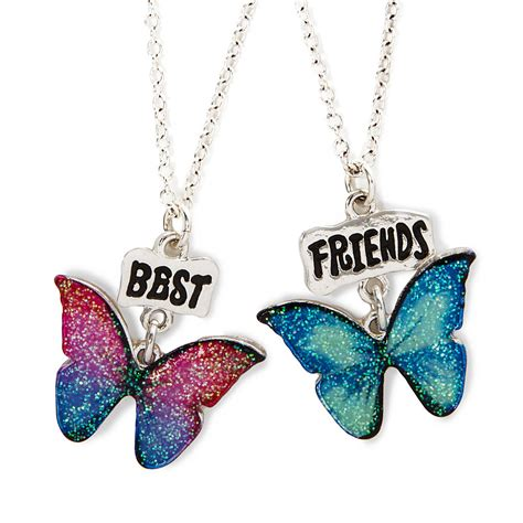 best friends glitter butterfly pendant necklaces