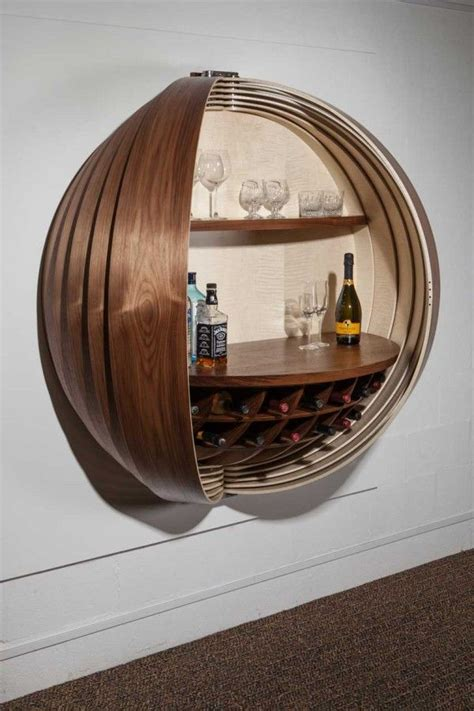 wall mounted bar cabinet inspired   spinning coin