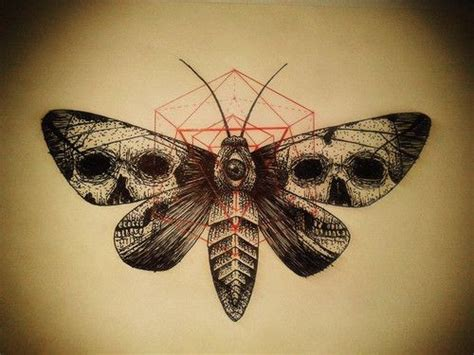 scary black moth with skull prints on wings and red