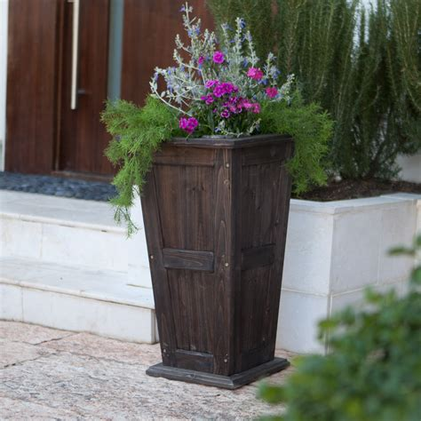 coral coast rochester tall cedar planter dark brown