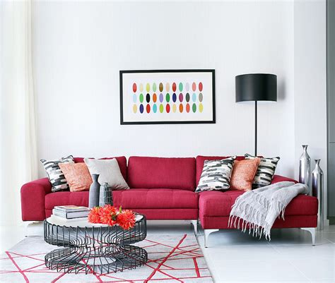 living room with red sofa vibrant trend 25 colorful sofas to rejuvenate your living