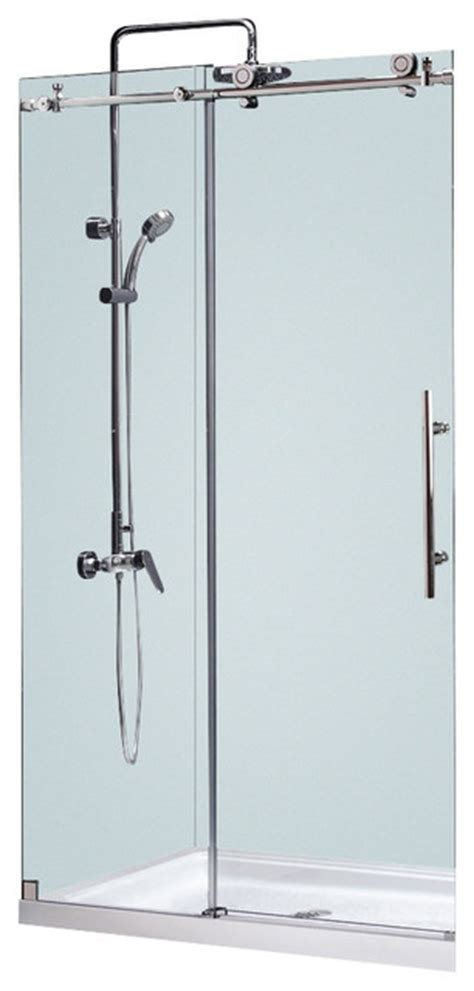 Bathroom Shower Door Parts Dreamline Enigma X 44 48 Quot Fully Frameless Sliding Shower Door Brushed Ss Modern Shower