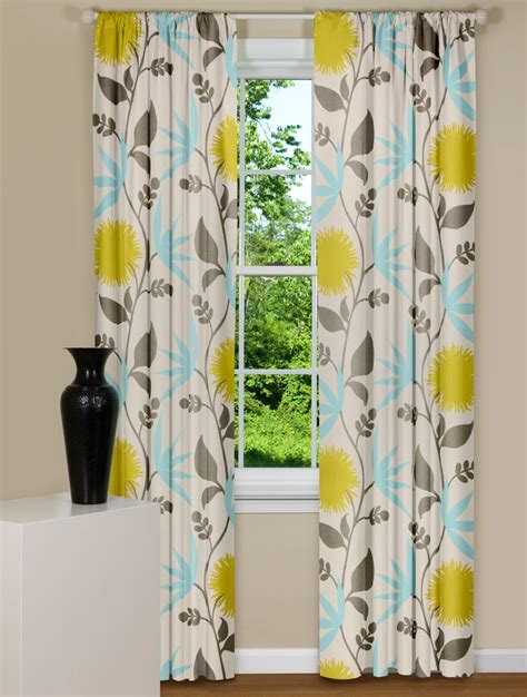 gray yellow teal curtains modern floral curtains in thomas paul dahlia flowers aegean