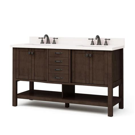 bathroom vanity tops double sink shop allen roth kingscote java undermount double sink