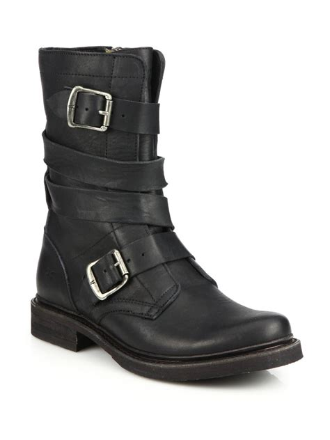 frye buckle leather boots in black lyst