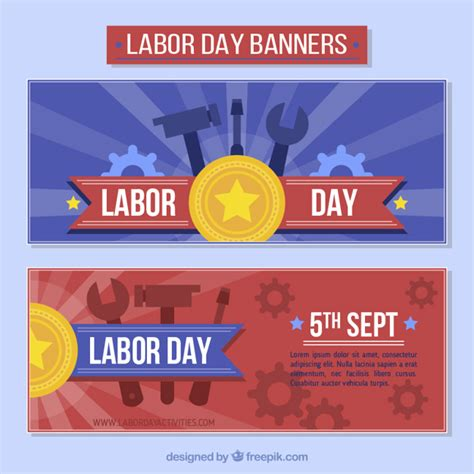 day banners free celebration labor day banners vector free