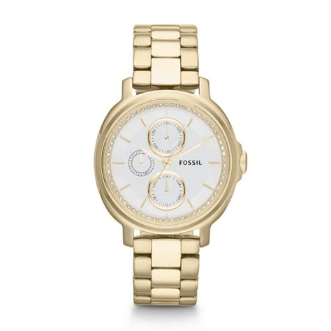 fossil chelsey multifunction stainless steel gold