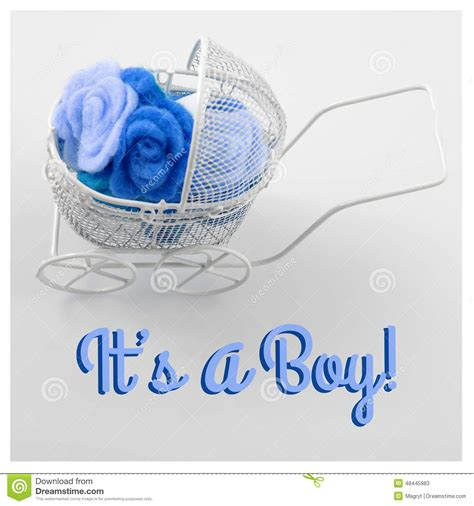 Cle1256 Piyama Baby Motif Boys New Born baby card its a boy theme pram of flowers on white background newborn greeting card