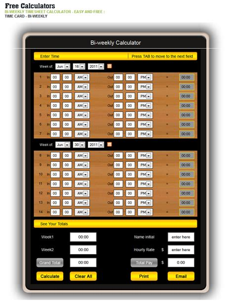 hours worked calculator free template bi weekly time card