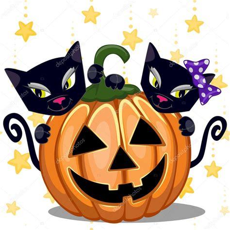 imagenes halloween gato gatos halloween con calabaza vector de stock