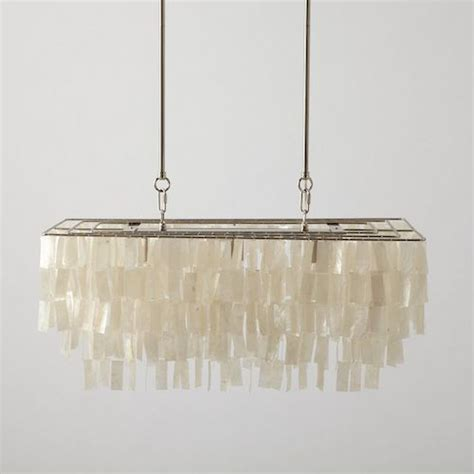 in hanging chandelier west elm large rectangular hanging capiz chandelie copy
