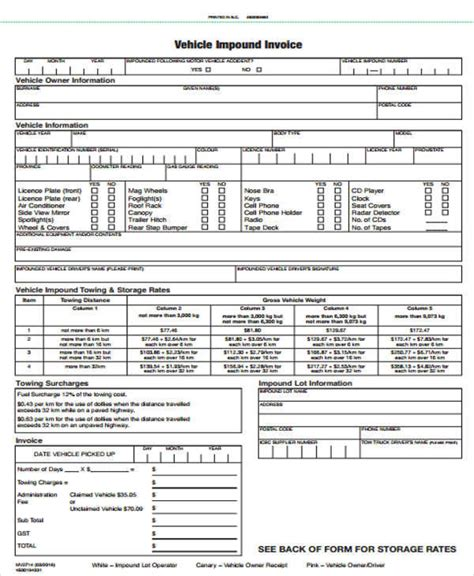 10 Vehicle Invoice Templates Exles In Word Pdf Sle Templates Car Storage Invoice Template