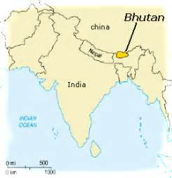Bhutan World Map by A Boy At Sea On The Happiest