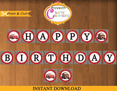 disney cars happy birthday banner printable disney cars birthday banner disney banner decoration