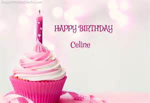 happy birthday cupcake candle pink cake for celine