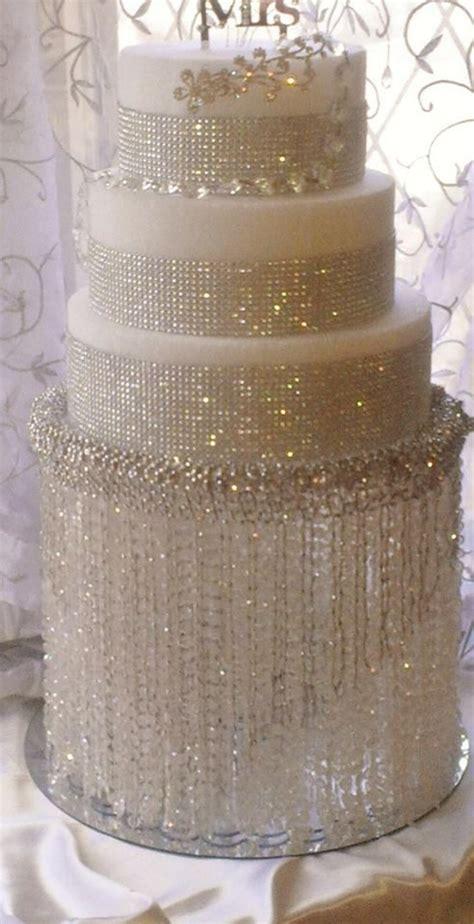 Acrylic Beaded Chandelier Gorgeous Wedding Cake White Rhinestone Crystal Blinged