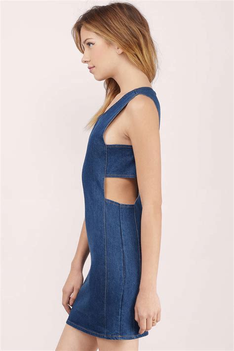 Bodycon Dress Aira Denim Inner wash bodycon dress blue dress denim dress 16 00