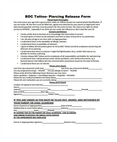tattoo paperwork tattoo release form tattoo collections