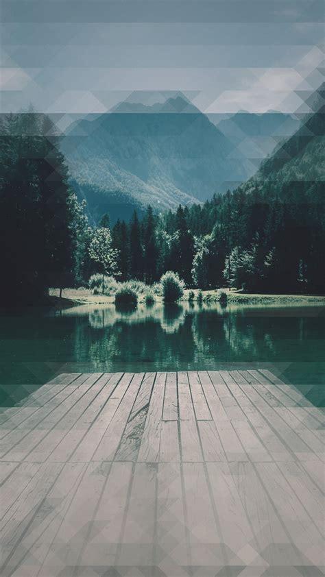 landscape lake pier mountain patina wallpapersc smartphone