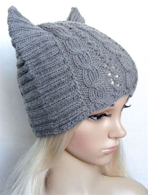 cat ear knit hat pattern cat ear hat betmen hat womens cat hat knitted cat hat