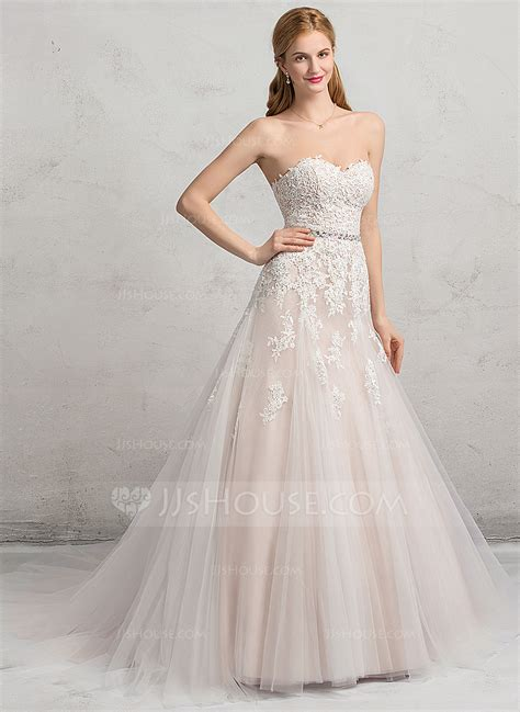 beading a wedding dress ball gown sweetheart chapel train tulle lace wedding dress