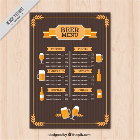 vintage beers menu template vector free download