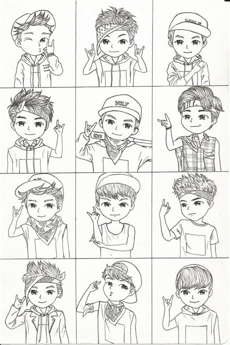 exo chibi coloring pages exo chibi wolf era by growlingwolf88 on deviantart
