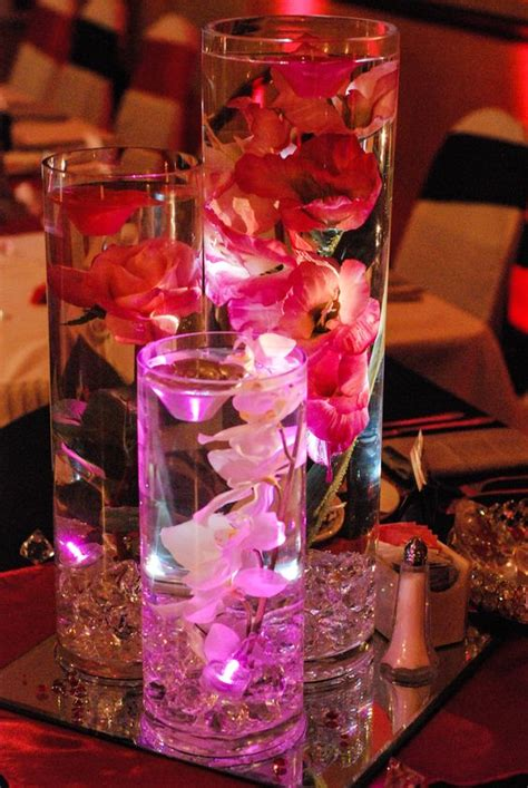 submersible flower centerpieces wedding center pieces with diamonds submersible lights