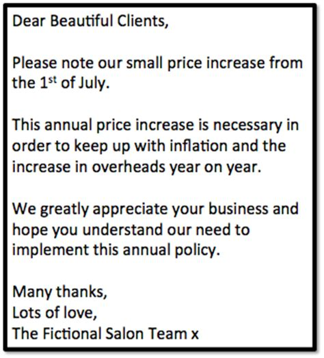 notification of price increase template how to charge for professional nail services fee wallace