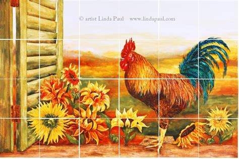 Lowes Wall Murals rooster kitchen decor backsplash with sunflowers tile
