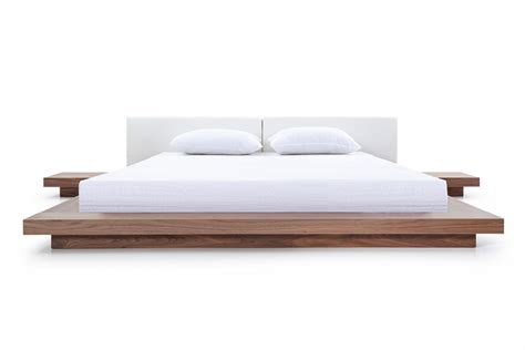 Platform Bed White Modrest Opal Modern Walnut White Platform Bed