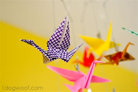 How To Make A Paper Crane Mobile - origami crane mobile one woof