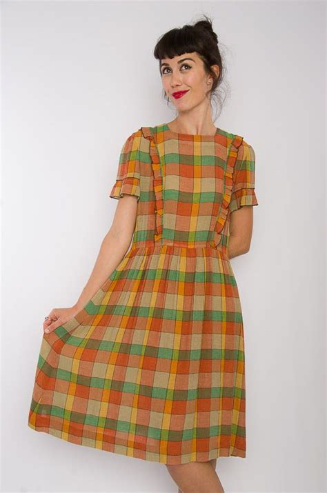 vintage 70s hq checkered dress size m bichovintage vintage and retro clothing store