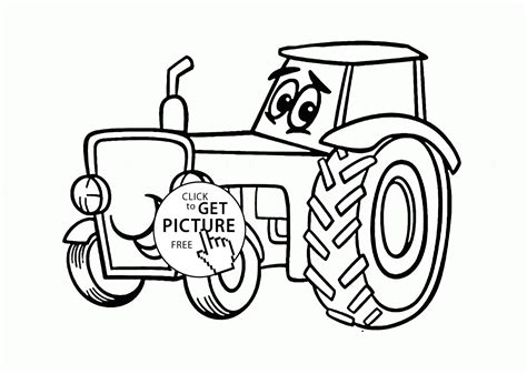 tractor coloring pages preschool cute cartoon tractor coloring page for kids
