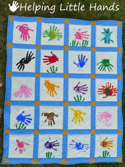Handprint Quilt by Pieces By Polly Print Animals Quilt