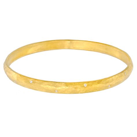 "Yossi Harari 24k Gold & Diamond ""Mica"" Bangle Bracelet   Betteridge"