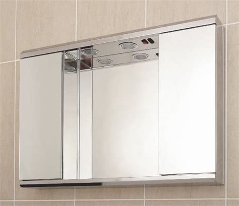 Mirrored Bathroom Cabinet With Shaver Socket by Hazelhead Design Deluxe Stainless Steel Door