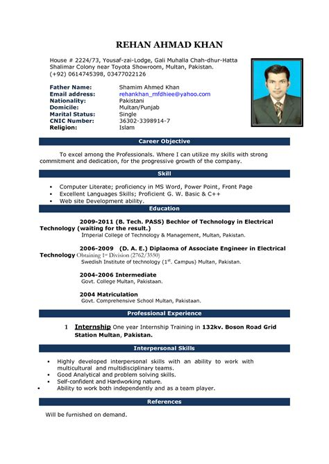 Resume Format For Word by Normal Resume Format Word Resume Ideas