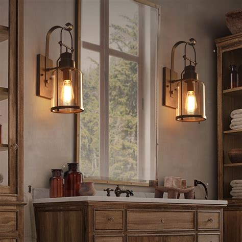 Lantern Wall Sconce Indoor by Industrial Loft Rust Metal Lantern Single Wall Sconce With