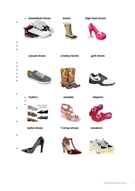 types of shoes for types of shoes worksheet free esl printable worksheets