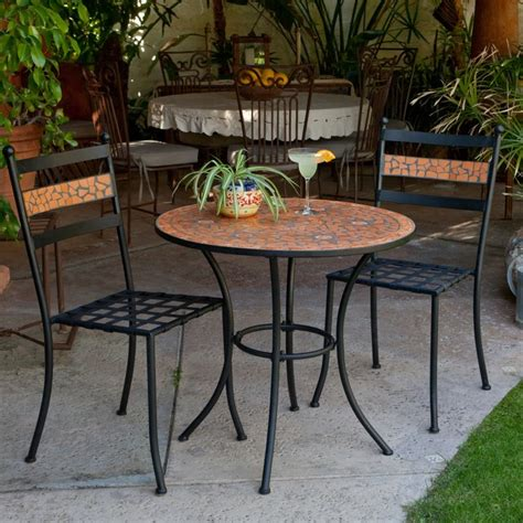 Patio Furniture Bistro Set Coral Coast Terra Cotta Mosaic Bistro Set Contemporary Outdoor Pub And Bistro Sets By