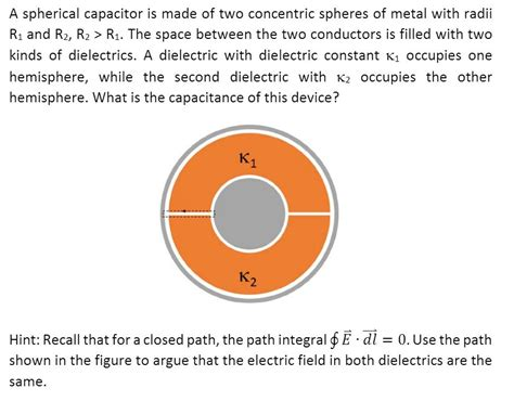 a spherical capacitor is formed from two concentric a spherical capacitor is made of two concentric sp chegg