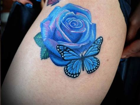 blue rose tattoo beautiful blue and butterfly tattoos