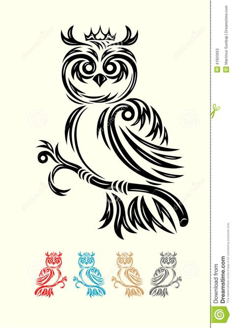 simple animal tattoo design owl bird tribal stock vector image 41820663