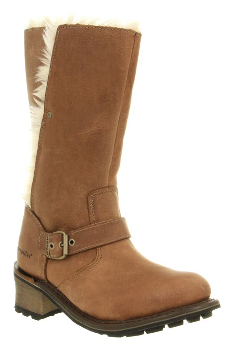 womens caterpillar fur lined peanut brown leather
