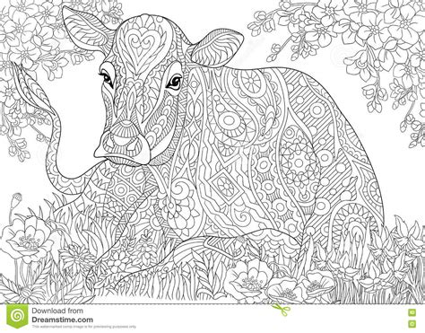 cow adults coloring books stress relief coloring book for grown ups books royalty free stock photography zentangle stylized cow