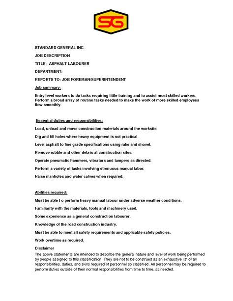 General Manager Description Sle by Construction Foreman Description Duties 28 Images Construction Description Description For