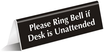 away from desk sign please ring bell for service signs