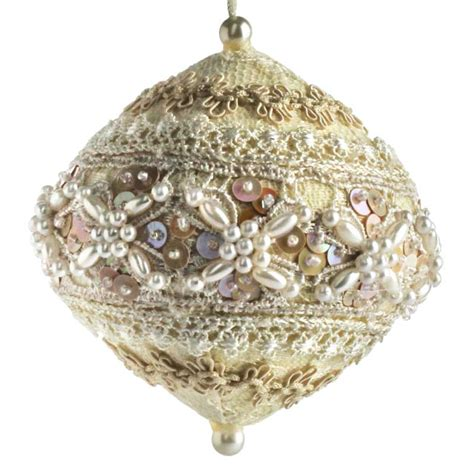 elegant lace and pearl ball ornament christmas ornaments